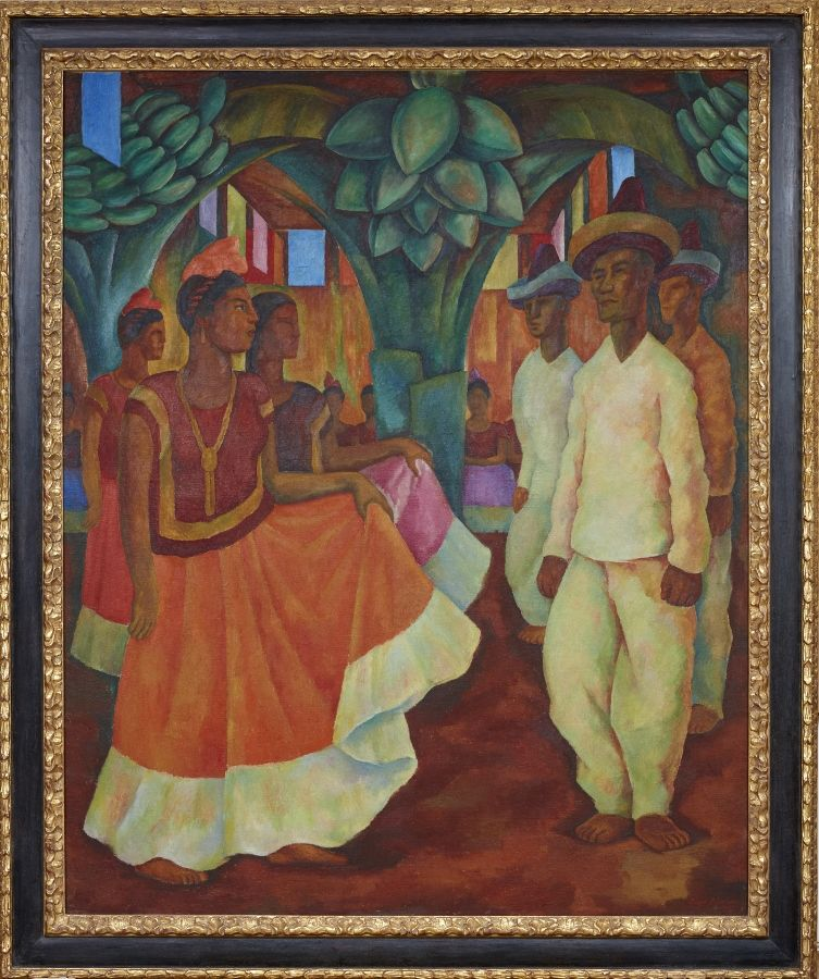 Diego Rivera, Baile en Tehuantepec, 1928. Óleo sobre tela, 200,7 x 163,8 cm. Colección Eduardo Costantini, Buenos Aires
