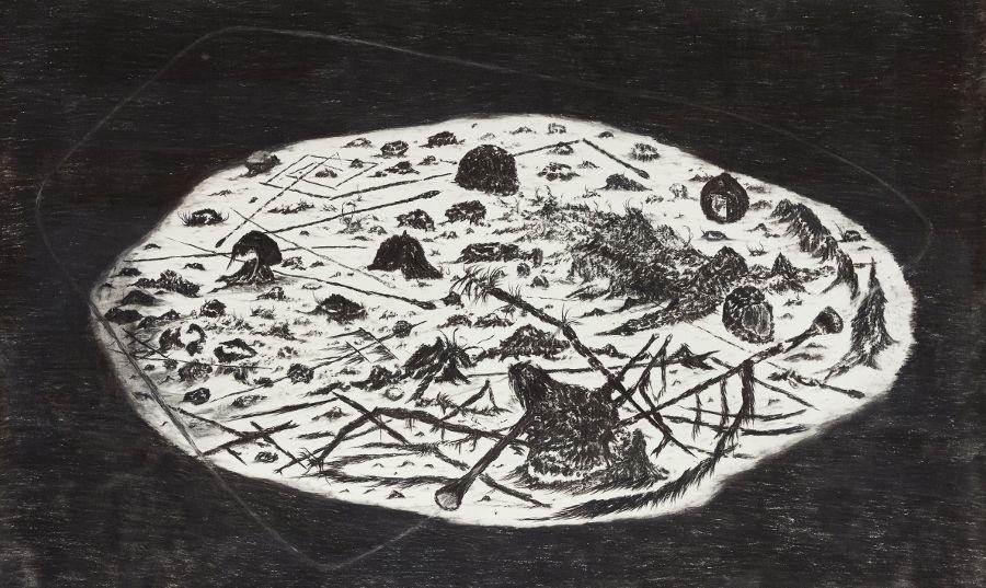 Matías Duville (1974, Buenos Aires), Inmersión. 2015. Diez impresiones láser sin título de dibujos originales, varios tamaños.