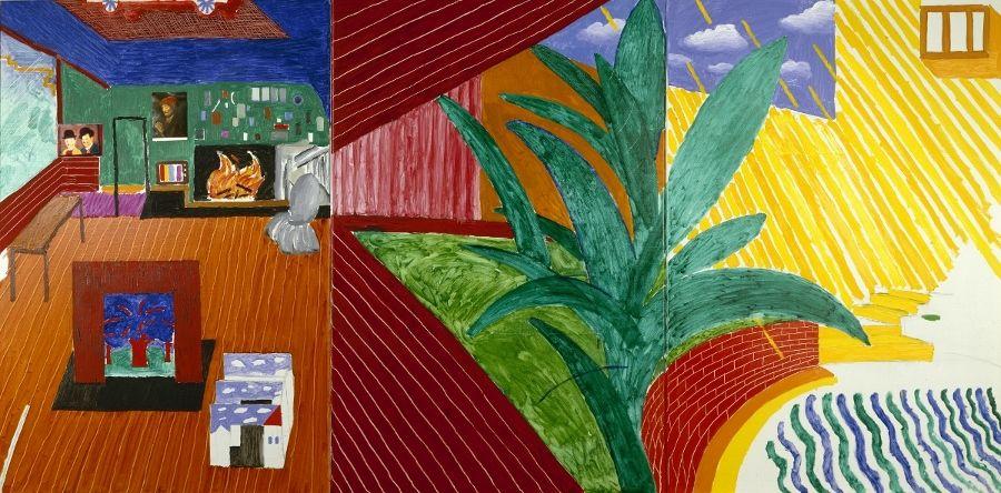 David Hockney, Hollywood Hills House, 1980, óleo, carboncillo y papel sobre tela, 1524 x 3048 mm. Colección Walker Art Center, Minneapolis. Obsequio de Penny y Mike Winton, 1983 © David Hockney
