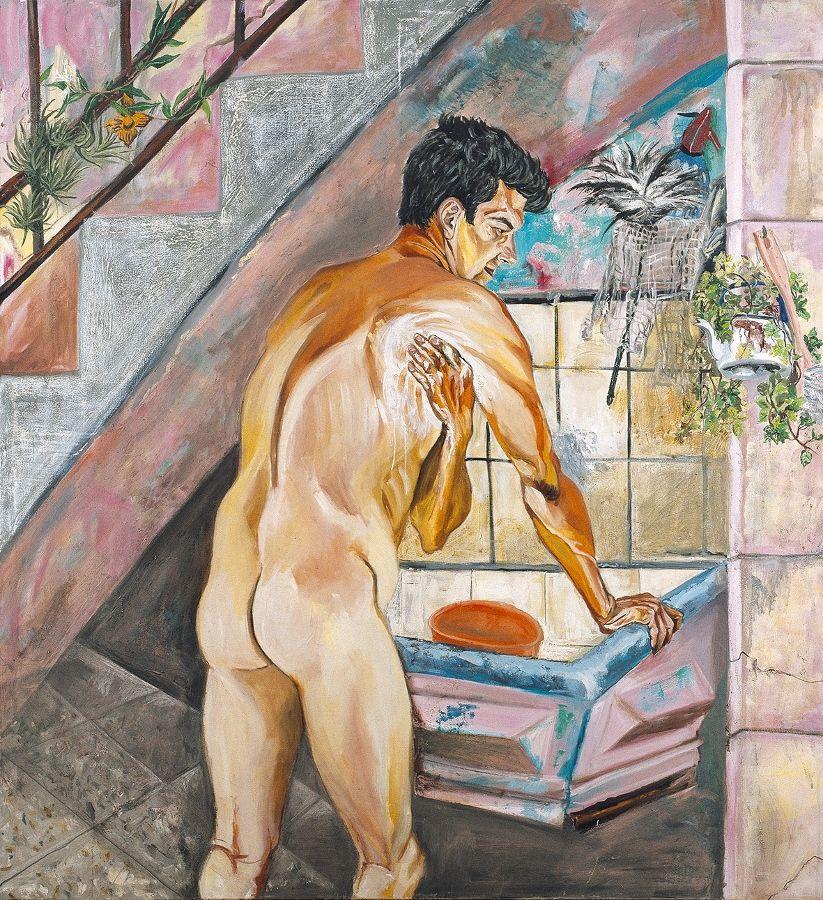 Marcia Schvartz, El baño del morocho, 1989, óleo sobre tela, 180 x 156 cm. En Cosmocosa