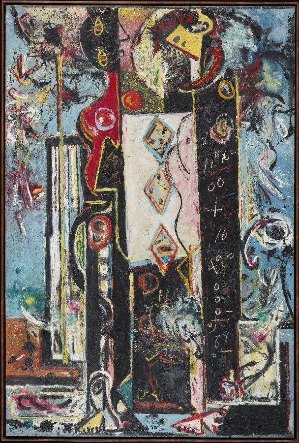 Jackson Pollock. Masculino y Femenino (Male and Female), 1942–43. Óleo sobre lienzo, 186,1 x 124,3 cm. Philadelphia Museum of Art. Donación de Mr y Mrs H. Gates Lloyd, 1974. Foto: Philadelphia Museum of Art © The Pollock-Krasner Foundation VEGAP, Bilbao, 2016