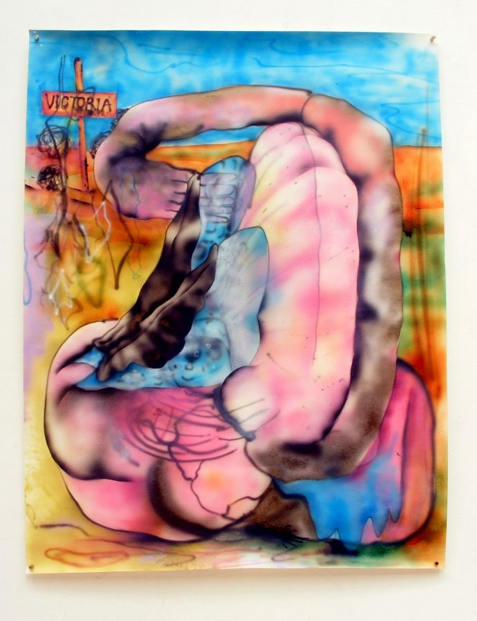 Constanza Giuliani, Victoria, 2017, aerógrafo sobre papel, 90 x 70 cm. Cortesía de la artista