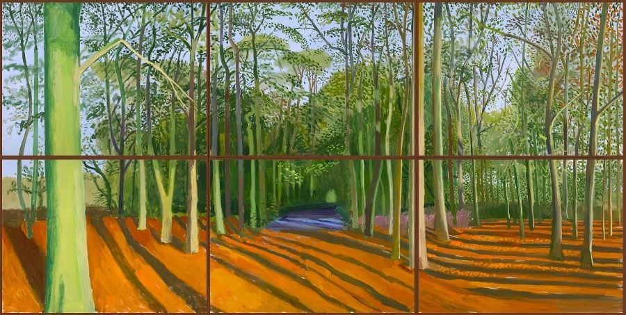 David Hockney, Woldgate Woods, 6 & 9 November 2006, 2006, óleo sobre seis telas, 914 x 1219 mm. David Hockney Inc. (Los Angeles, USA) © David Hockney. Foto: Richard Schmidt