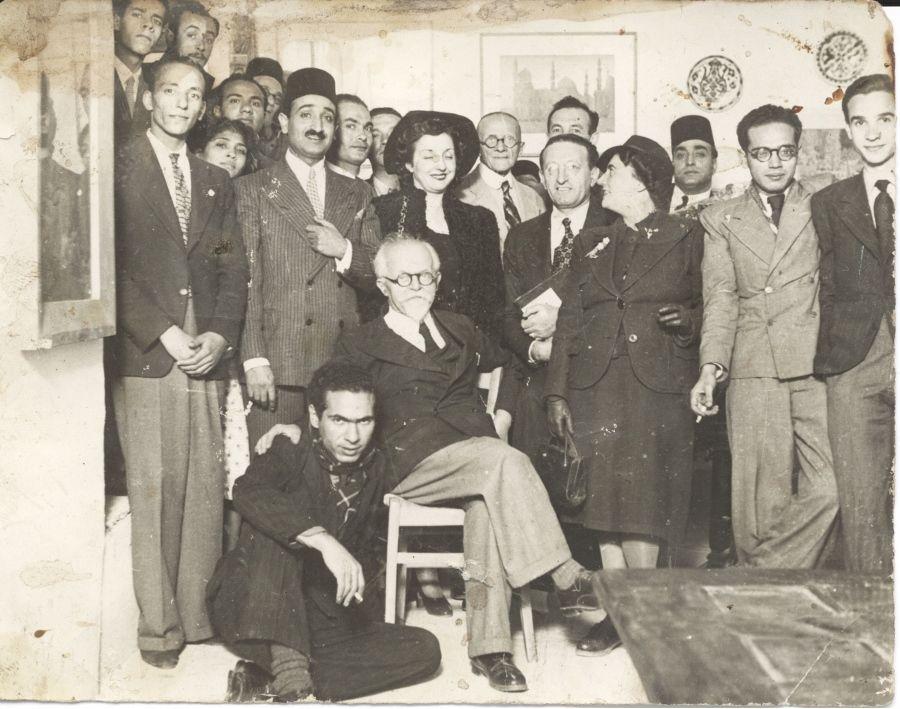 Miembros y simpatizantes del grupo Art et Liberté en la Maison des Artistes, 1945. Fotógrafo desconocido. Copia de época. Gelatina de plata. Colección Christophe Bouleau, Ginebra