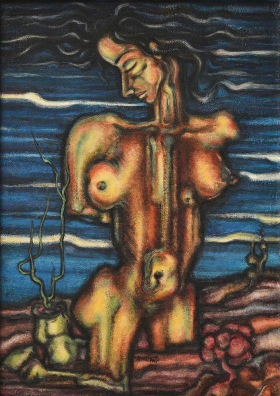 Fouad Kamel. Sin título, s/f, óleo sobre cartón, 70,5 x 50 cm. Colección particular (c) Colección Mai El-Dib, Alejandría