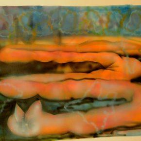 Constanza Giuliani, Gusano (de la aserie el Corazón de un mundo), 2016, aerógrafo sobre papel, 29 x 42 cm. Cortesía de la artista