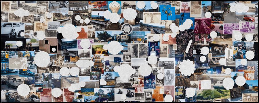 Rosângela Rennó (1962, Belo Horizonte), Tudo sobre rodas (Todo sobre ruedas), 2016. Mapa en impresión offset y encuadernado a mano, 80 x 203,2 cm (desplegado), 10,2 x 25,4 cm (plegado).