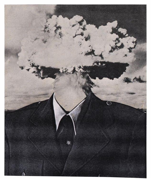 Bruce Conner, Bombhead, 1989, collage de litografía en offset y fotocopia, 28,4 x 19,5 cm. Cortesía: Conner Family Trust / San Francisco, VEGAP, Madrid, 2017