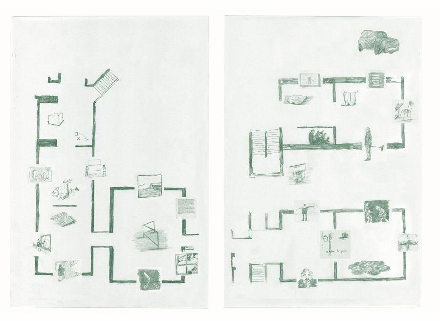 Plano de Autogestión, dibujado por el artista y comisario de la muestra Antonio Ortega, 2017. Cortesía: Fundació Joan Miró