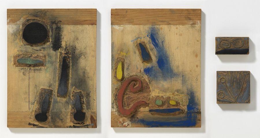 Planchas de madera para el poema poema 3 de 'Confections'. Fundació Joan Miró. © Successió Miró, 2017. Foto Gasull