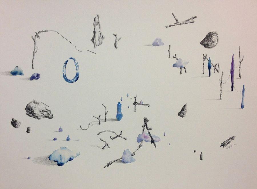 Javier Otero, Sin título., 2016, acuarela y carbón sobre papel, 32 x 44 cm. Cortesía del artista
