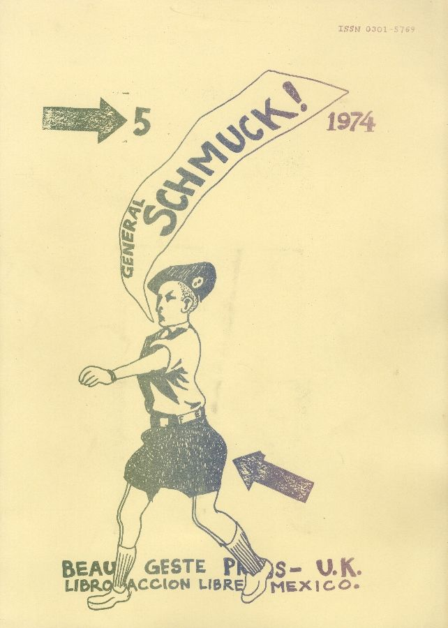 Felipe Ehrenberg, portada de General Schmuck (No. 5), editado por David Mayor. Beau Geste Press, 1975. Cortesía: CAPC