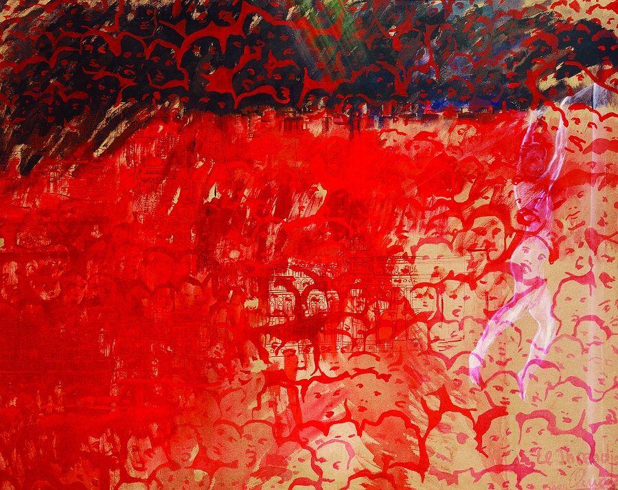 Elda Cerrato, El incendio, 1984, acrílico sobre tela, 115 x 145 cm. Henrique Faría Nueva York/Buenos Aires