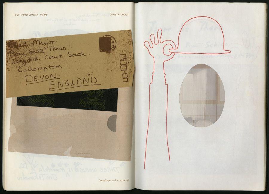 David Richards, Post-Impressionism JapMap; Takako Saito, Window. Páginas interiores de Japanese Schmuck (No. 8), editado por Taii Ashizawa, Takehisa Kosugi, David Mayor. Beau Geste Press, 1976. Cortesía: CAPC