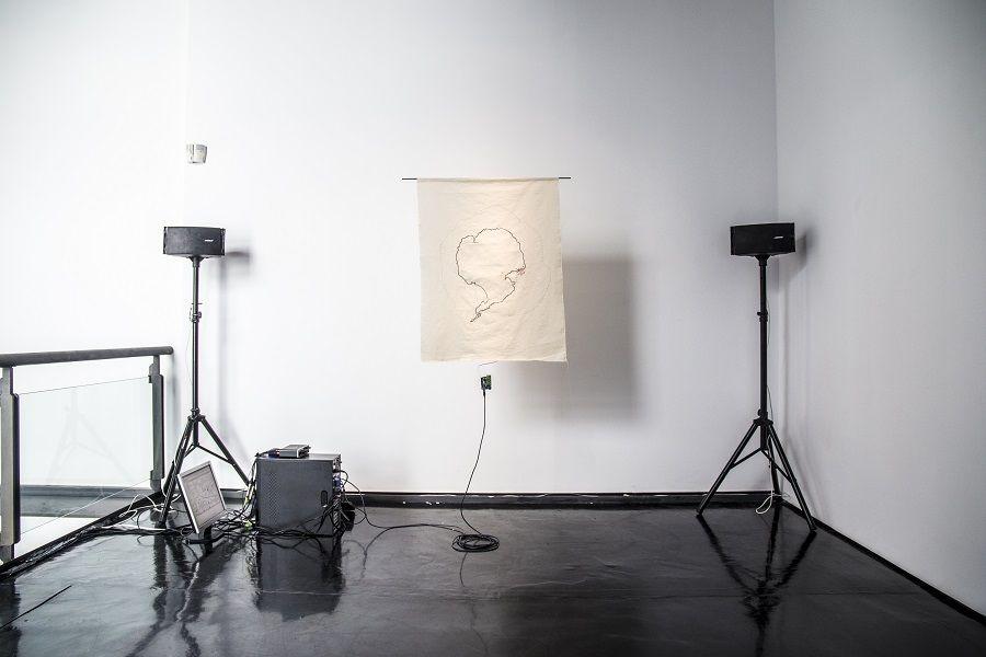 """Alejandra Pérez Núñez, Great Island of Fire Land, 2015. Vista de la exposición """"Otros sonidos. otros paisajes"""", en el MACRO, Roma, 2017. Foto: Giuliano Mozzillo"""