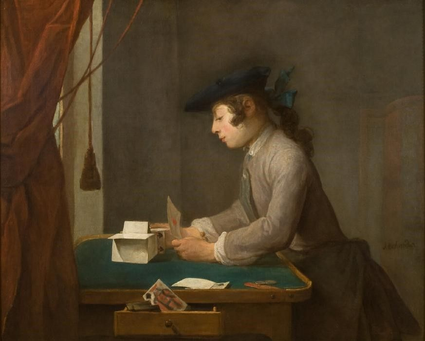 Jean-Siméon Chardin, Boy Building a House of Cards (1735). Cortesía: National Trust Images