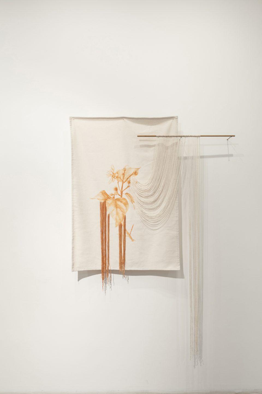 Ana Teresa Barboza, Bixa Orellana, 2017, tinte natural en fibra de algodón, 1,10 x 77 cm. Vista de la exposición en Wu Galería, Lima. Foto: Eduardo Hirose