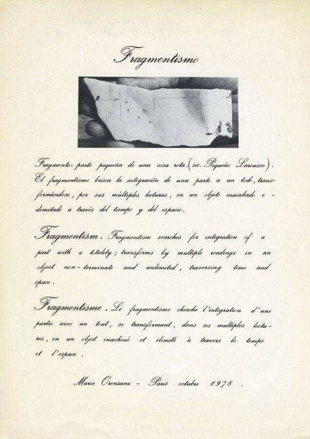 Marie Orensanz, Fragmentismo, 1978. Cortesía de la artista