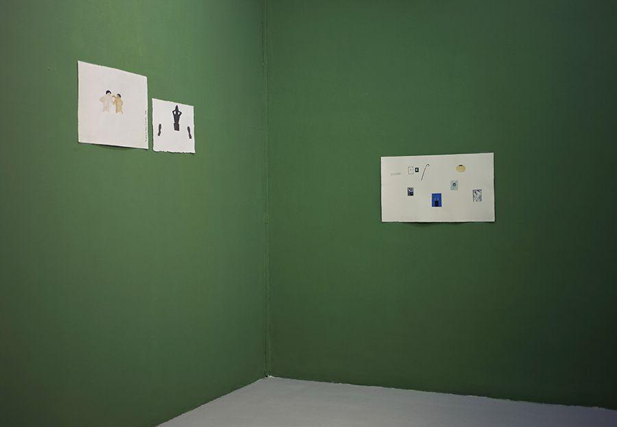 Acuarelas pertenecientes la serie Los libros y las cosas (2016-2017), en la exposición del mismo nombre de Martín La Roche en Galería Gabriela Mistral, Santiago de Chile. Foto: Carla Yovane, cortesía del artista.
