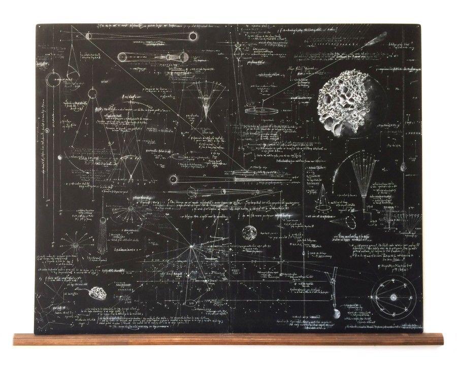 """Maqueta de artista para la muestra """"25 Esferas. 7 Líneas"""", de María Edwards, en galería Xavier Fiol, Madrid, 2017. Cortesía de la artista y de la galería"""