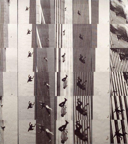 Carolee Schneemann, Terminal Velocity, 2001-2005, impresión a chorro de tinta sobre papel blanco y negro (35 imágenes escaneadas a partir de ampliaciones de secuencias de periódicos. 7 columnas x 6 filas, 243 x 213 cm., 12 x 16 cm c/u). Cortesía de Colección Musée départemental d'art contemporain de Rochechouart