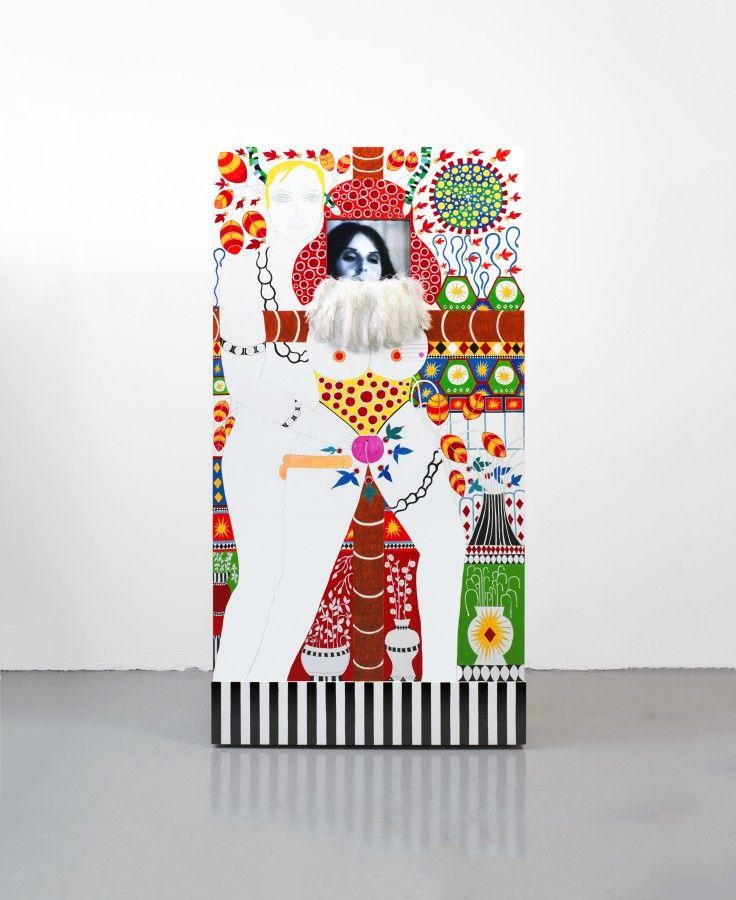 Dorothy Iannone, I Thinking of You III, 1975-2006, acrílico sobre madera, vídeo de 1975 convertido a DVD, pantalla plana LCD, transformador de vídeo, 5 minutos, bucle,190 x 100 x 37 cm. Cortesía de la artista y VENUS Los Angeles