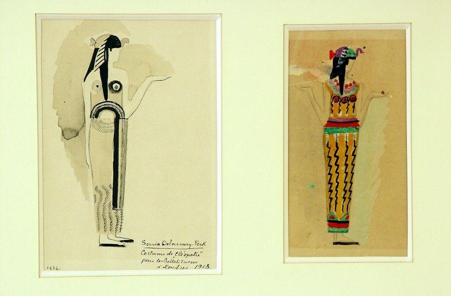 Sonia Delaunay, Dos figurines para el ballet Cleopatra, 1918. Tinta y acuarela sobre papel, 24,17 x 17 cm y 21 x 15,5 cm. Colección privada