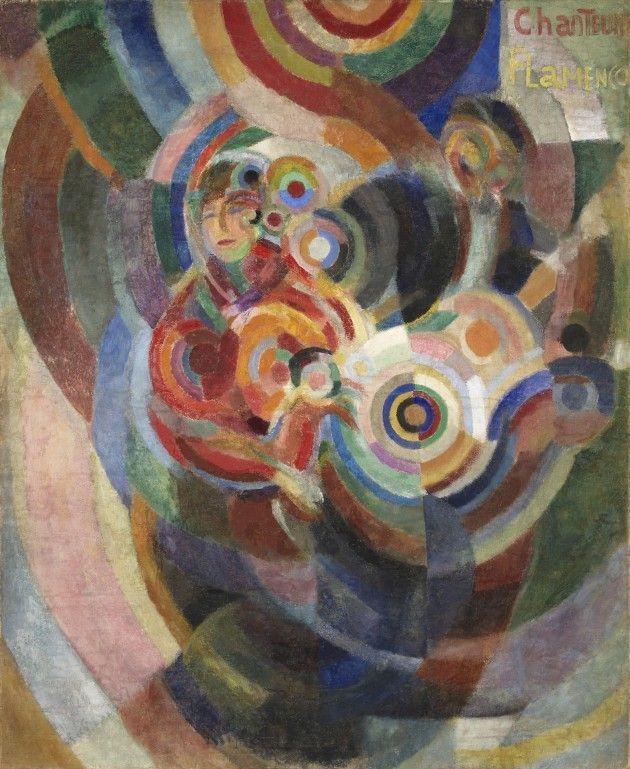 Sonia Delaunay, Cantantes de flamenco, 1915-1916. Óleo y cera sobre lienzo, 174,5 x 143 cm. Museu Calouste Gulbenkian, Lisboa. Coleção Moderna