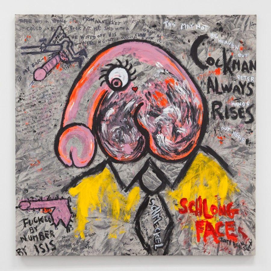 Judith Bernstein, Cockman 5, 2016, acrílico sobre tela, 182,9 x 182,9 cm. Cortesía de la artista y VENUS, Los Angeles