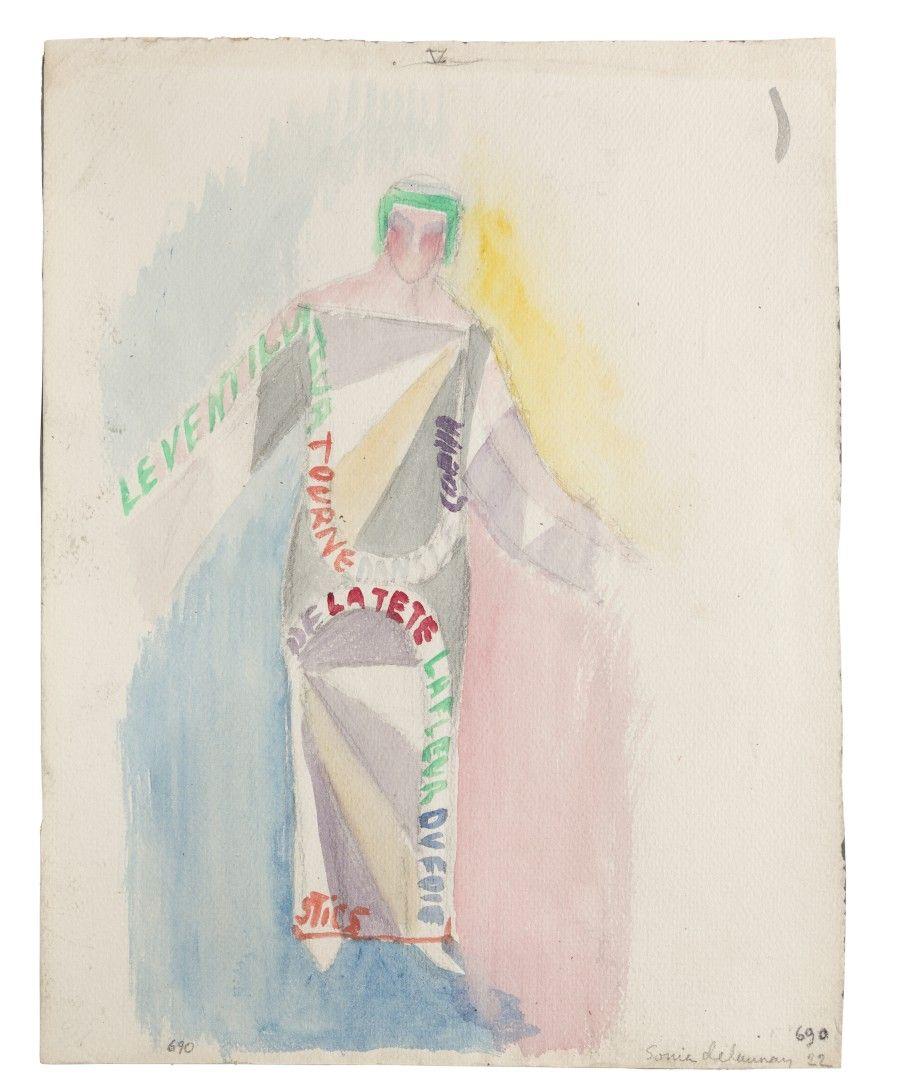 """Sonia Delaunay, Vestido-poema: """"Le Ventilateur tourne dans le coeur de la tête (texto de Tristan Tzara), 1922. Acuarela sobre papel, 30 x 23,5 cm. Guillermo de Osma"""