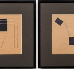 Ivan Serpa, Sin título, 1953, suite de cuatro dibujos (gouache, collage, y tinta china sobre cartón), 23 x 16 cm c/u. Cortesía: Galerie Lelong