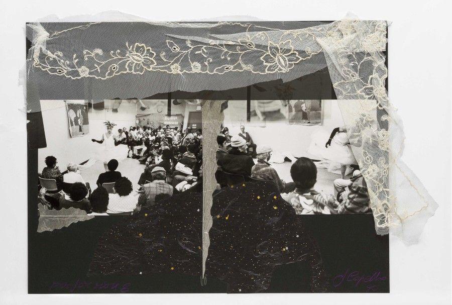 Francisco Copello, Performance, 1990, collage (fotografía, tul, encaje, papel hecho a mano, escarcha, lápiz, 38.5 x 51 cm. Colección Juan Yarur. Cortesía: Cecilia Brunson Projects, Londres