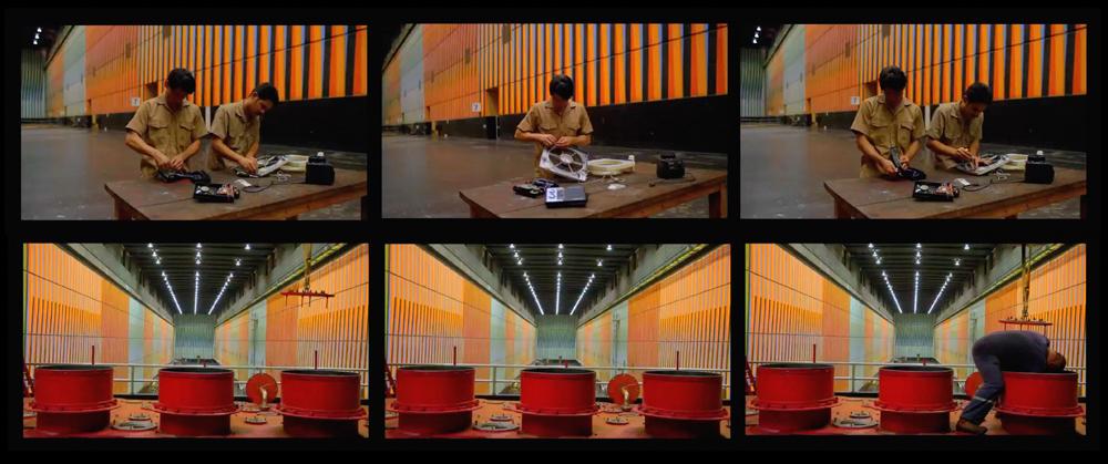 Alexander Apóstol, Contrato colectivo cromosaturado, 2012, video HD, instalación con tres pantallas, 45 min (en colaboración con Rafael Ortega). Cortesía: mor.charpentier