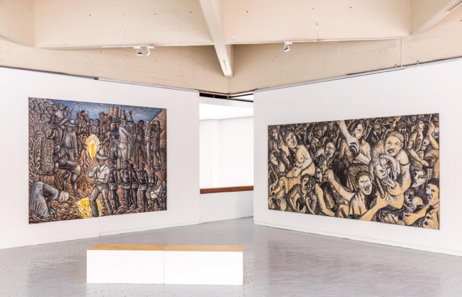 "Mmakgabo Helen Sebidi, Tears of Africa (Lágrimas da África), 1987-1988. Vista de la exposición ""Incerteza Viva"", 32° Bienal de Sao Paulo en Bogotá, 2017. Cortesía: MAMBO"