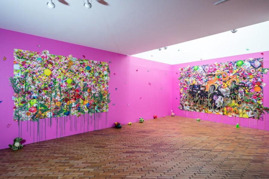 """Ebony G. Patterson. Vista de la exposición """"Incerteza Viva"""", 32° Bienal de Sao Paulo en Bogotá, 2017. Cortesía: MAMBO"""