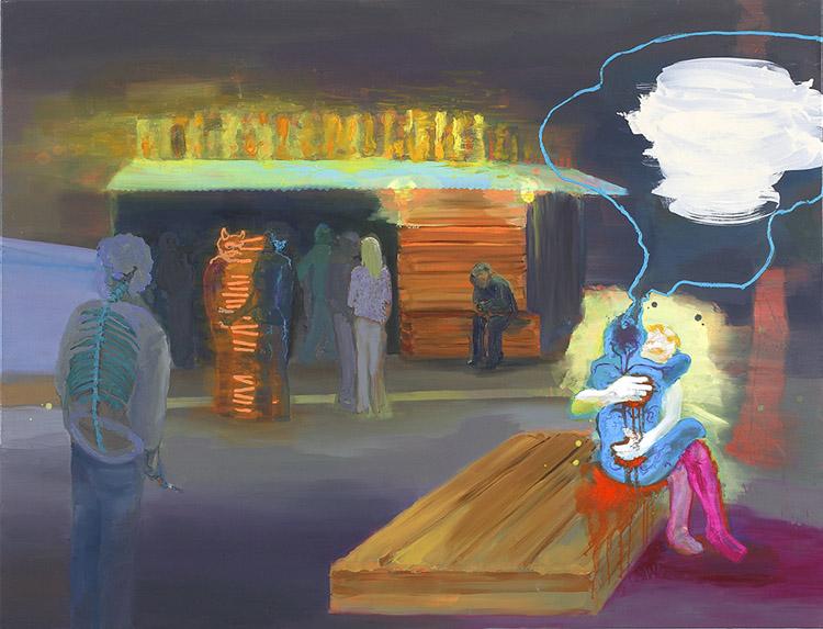 Adriana Ciudad, Bar 25, 2008, óleo sobre lienzo, 150 x 180 cm. Cortesía de la artista