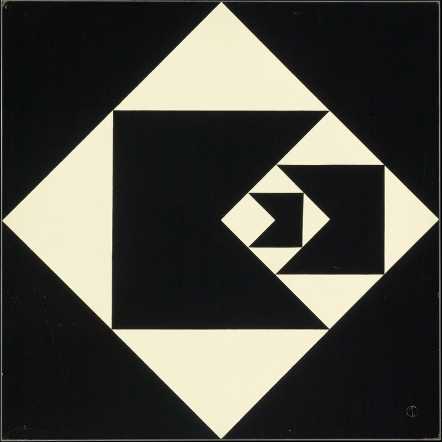 Geraldo de Barros (Brasileño, 1923-1998), Função diagonal, 1952, alquídico sobre tabla, 60,3 x 60,3 x 5 cm (sin armazón). Colección Patricia Phelps de Cisneros. Regalo prometido al Museo de Arte Moderno de Nueva York, a través del Fondo Latinoamericano y del Caribe