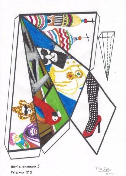 Teresa Burga, Modelos de prismas / Grupo de 5, 2016, marcadores de color sobre papel, 29,7 × 21 cm. Cortesía de la artista y 80m2 Livia Benavides (Perú).