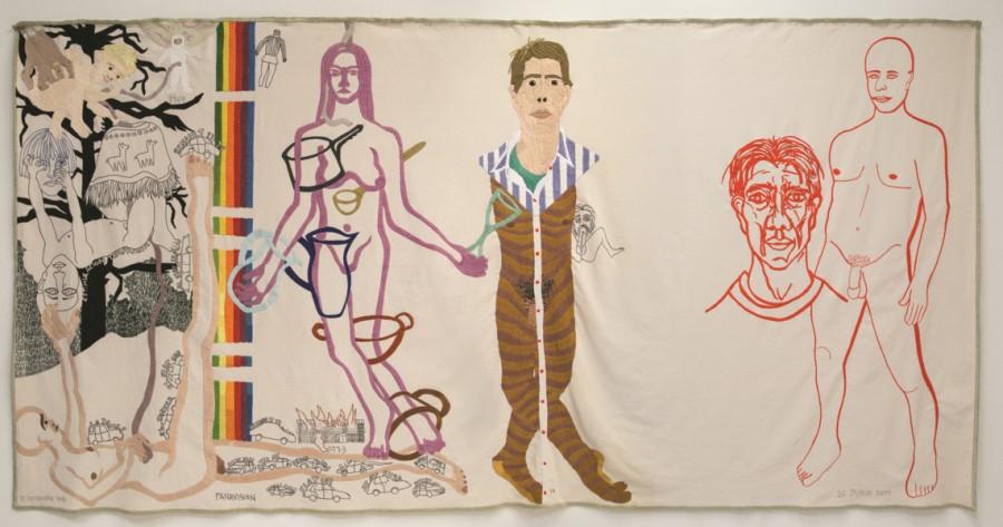 Carlos Arias, Legado, 1995 – 2014, bordado sobre lona de algodón, 175 x 355 cm. En Marso Galería, Ciudad de México, sección Proyectos. Cortesía: ARTBO 2017