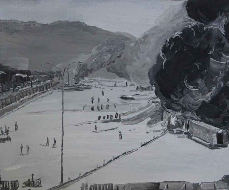 Christian Vinck, Polvorines, 2017, óleo sobre tela, 27 × 34 cm. Cortesía del artista y Carmen Araujo Arte (Caracas).