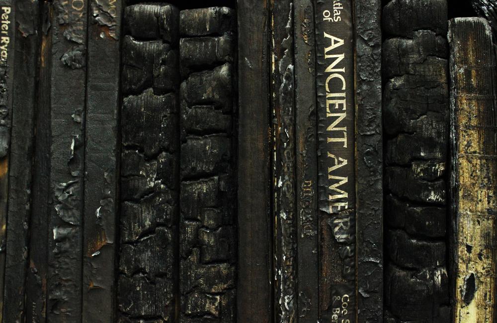 Javier Toro Blum, detalle de Librero (con libros quemados), 2011. En Galería Patricia Ready, Santiago. Feria Ch.ACO 2017