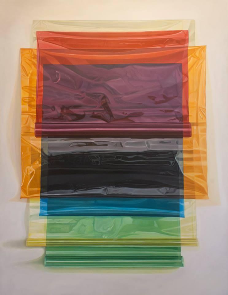 Nicolás Radic, Celofán, 2017, óleo sobre tela. En galería XS, Santiago. Cortesía de la galería