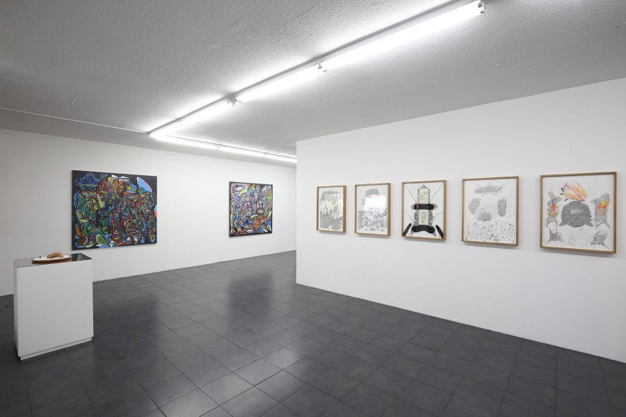 Vista de la muestra Rituales Disidentes de Marlov Barrios, en Galería Extra, Ciudad de Guatemala. Foto: cortesía de la galería.