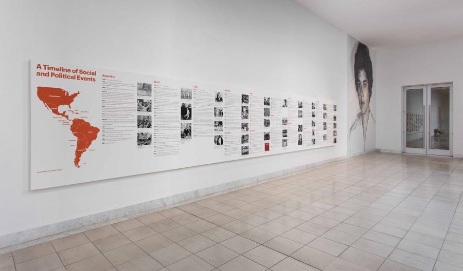 Vista de la exposición Radical Women: Latin American Art, 1960-1985. Cronología de Eventos Sociales y Políticos. Hammer Museum, Los Angeles, 2017. Foto: Brian Forrest
