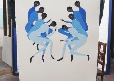 Santiago Ascui, Decaída Azul, 2017, 76 x 56 cm, impresión a seis colores. Edición de 50