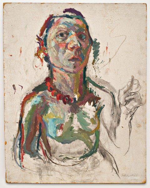 Maria Lassnig, Selbstporträt expressiv, 1945, óleo, carboncillo sobre cartón de fibra. Cortesía de la artista