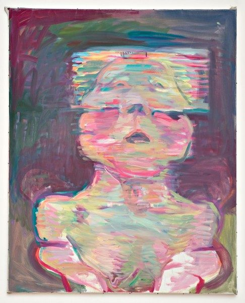 Maria Lassnig, Transparentes Selbstporträt, 1987, óleo sobre tela. Cortesía de la artista