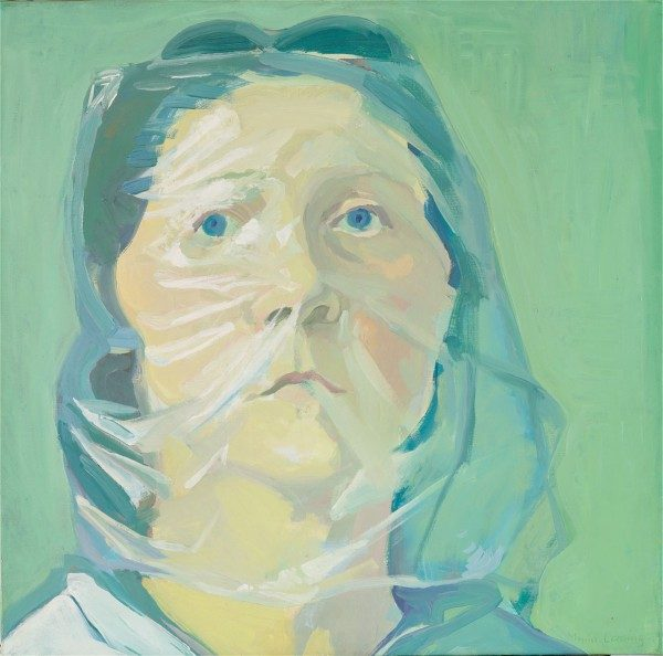 Maria Lassnig, Selbstportrait unter Plastik, 1972, óleo sobre tela, 55 x 56 cm. Colección de Bruin-Heijn