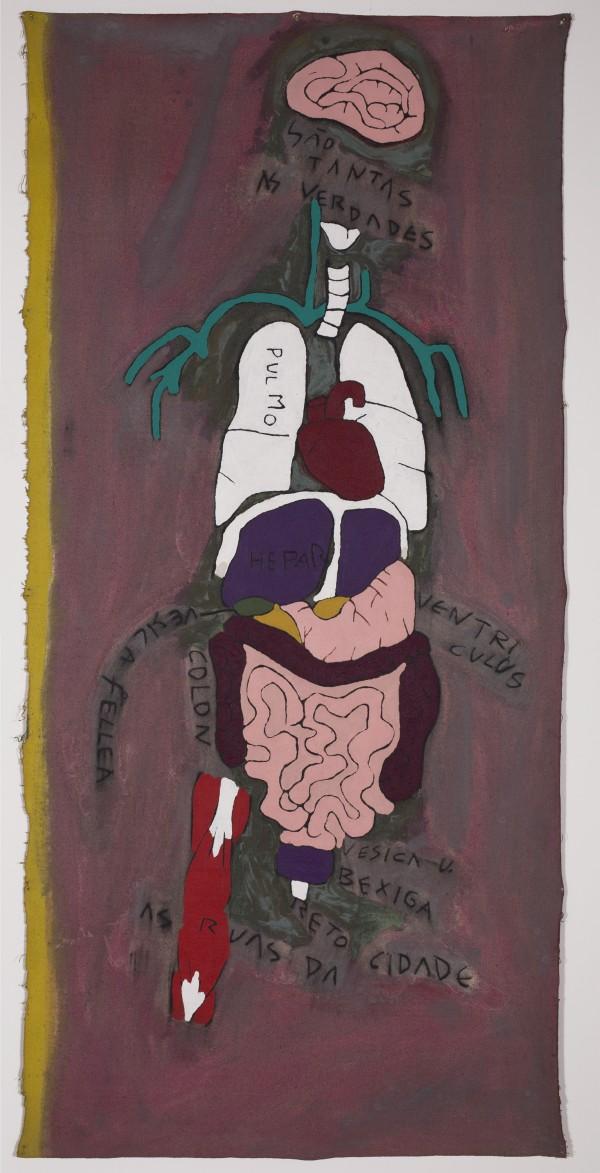 José Leonilson, As ruas da cidade, c. 1988, 200 x 95 cm., pintura acrílica sobre lienzo sin montar. Colección de Charlo Whately © Projeto Leonilson. Foto: Rubens Chiri