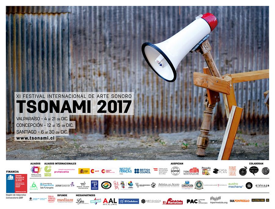 Afiche XI Festival de Arte Sonoro Tsonami. Imagen: Cortesía Tsonami Arte Sonoro.